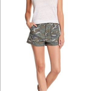 Free People Camouflage High Waisted Cargo Shorts